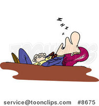 Cartoon Business Man Sleeping at His Desk by Ron Leishman