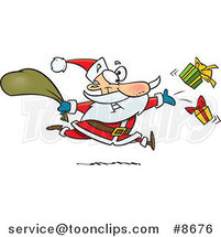 Cartoon Santa Tossing Gifts by Ron Leishman