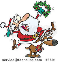 Cartoon Joyous Santa Riding a Reindeer by Ron Leishman
