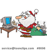 Cartoon Computer Repair Santa by Ron Leishman