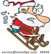 Cartoon Sledding Santa by Ron Leishman