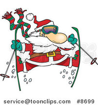 Cartoon Skiing Santa by Ron Leishman