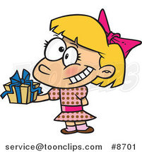 Cartoon Girl Holding a Gift at a Party by Ron Leishman