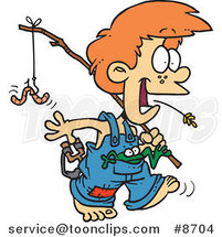 Cartoon Country Boy Carrying a Fishing Pole by Ron Leishman