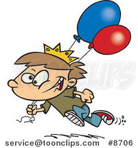 Cartoon Birthday Boy Running with Balloons by Ron Leishman