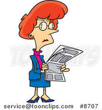 Cartoon Business Woman Reading a Newspaper by Ron Leishman