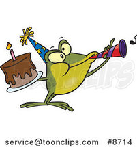 Cartoon Birthday Frog Holding a Cake and Using a Noise Maker by Ron Leishman