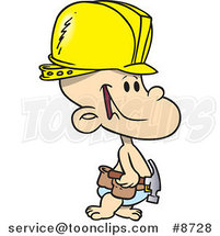 Cartoon Construction Baby Boy by Ron Leishman