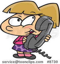 Cartoon Girl Talking on a Phone by Ron Leishman