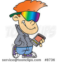 Cartoon Cool Kid Carrying a Smart Phone by Ron Leishman