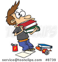 Cartoon Boy Cramming Books in His Mouth by Ron Leishman