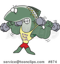 Cartoon Strong Fish Lifting Weights and Wearing a Fish for Life Shirt by Ron Leishman