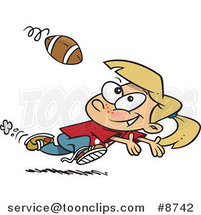 Cartoon Running Girl Catching a Football by Ron Leishman