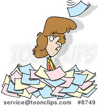 Cartoon Lady Standing in a Pile of Paperwork by Ron Leishman