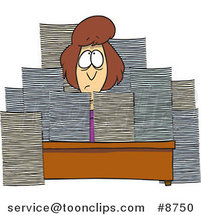 Cartoon Business Woman Sitting at Her Desk with Stacks of Paperwork by Ron Leishman