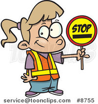 Cartoon Patrol Girl Holding a Stop Sign by Ron Leishman