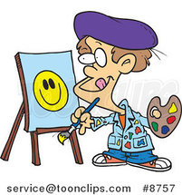 Cartoon Boy Painting a Smiley Face by Ron Leishman