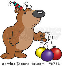 Cartoon Birthday Bear with Deflating Balloons by Ron Leishman