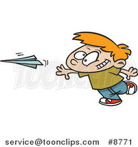 Cartoon Boy Throwing a Paper Plane by Ron Leishman