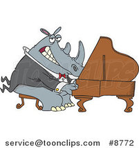 Cartoon Rhino Pianist by Ron Leishman