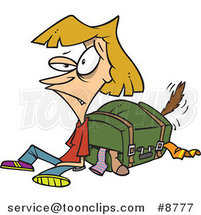 Cartoon Exhausted Lady by Her Packed Suitcase by Ron Leishman
