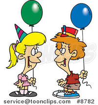 Cartoon Birthday Boy and Girl with Balloons by Ron Leishman