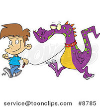 Cartoon Boy Walking a Dragon by Ron Leishman
