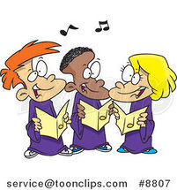 Cartoon Singing Kids in a Choir by Ron Leishman