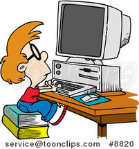 Cartoon Smart Boy Using a Computer by Ron Leishman