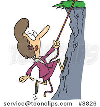 Cartoon Business Woman Climbing a Hillside by Ron Leishman