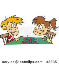 Cartoon Boy and Girl Playing Chess by Ron Leishman