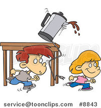 Cartoon Boy and Girl Running and Knocking over a Coffee Pot by Ron Leishman