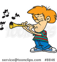 Cartoon Boy Playing a Clarinet by Ron Leishman