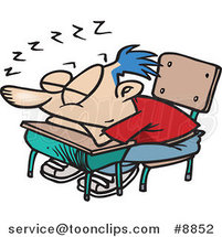 Cartoon School Boy Sleeping on His Desk by Ron Leishman
