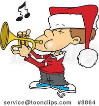 Cartoon Boy Playing Christmas Music on a Trumpet by Ron Leishman