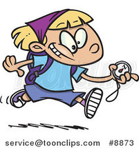 Cartoon Hiker Girl Running with a Compass by Ron Leishman
