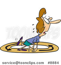 Cartoon Exhausted Business Woman Walking in Circles by Ron Leishman