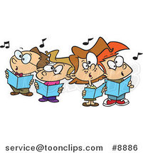 Cartoon Choir Kids Singing by Ron Leishman