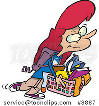 Cartoon College Girl Carrying a Basket of Items by Ron Leishman