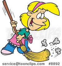 Cartoon Girl Sweeping by Ron Leishman