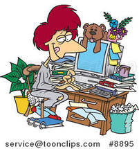 Cartoon Lady Working in Her Pjs in Her Cluttered Home Office by Ron Leishman