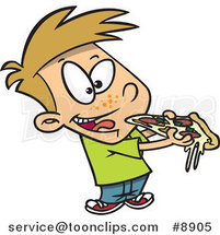 Cartoon Boy Eating Pizza by Ron Leishman