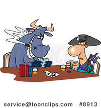 Cartoon Cowboy and Bull Playing Poker by Ron Leishman