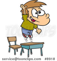 Cartoon School Boy Jumping over His Desk by Ron Leishman