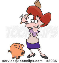 Cartoon Business Woman Breaking a Piggy Bank by Ron Leishman