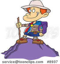 Cartoon Boy on Top of a Mountain by Ron Leishman