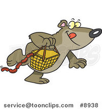 Cartoon Bear Stealing a Picnic Basket by Ron Leishman