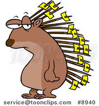 Cartoon Porcupine with Memos on His Quills by Ron Leishman