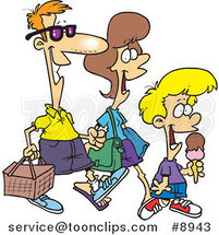 Cartoon Family Going on a Picnic by Ron Leishman