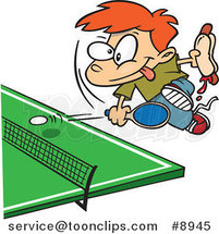 Cartoon Boy Holding a Hot Dog and Playing Ping Pong by Ron Leishman